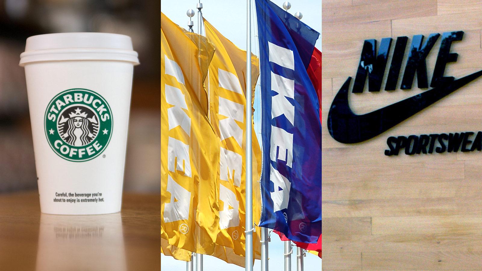 Starbucks, Ikea, Nike