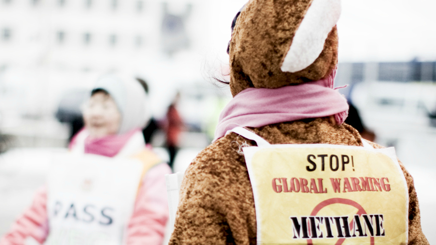 climate protester wearing anti-methane placard