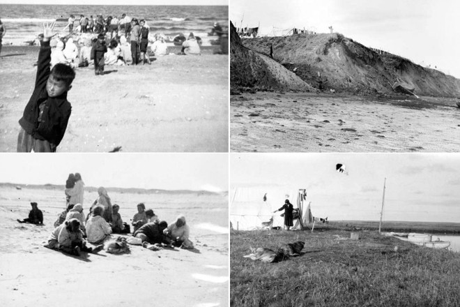"Older photos of the island show wide, sandy beaches. Village elders remember playing tag and ""Eskimo baseball"" on the beach until late into the night."