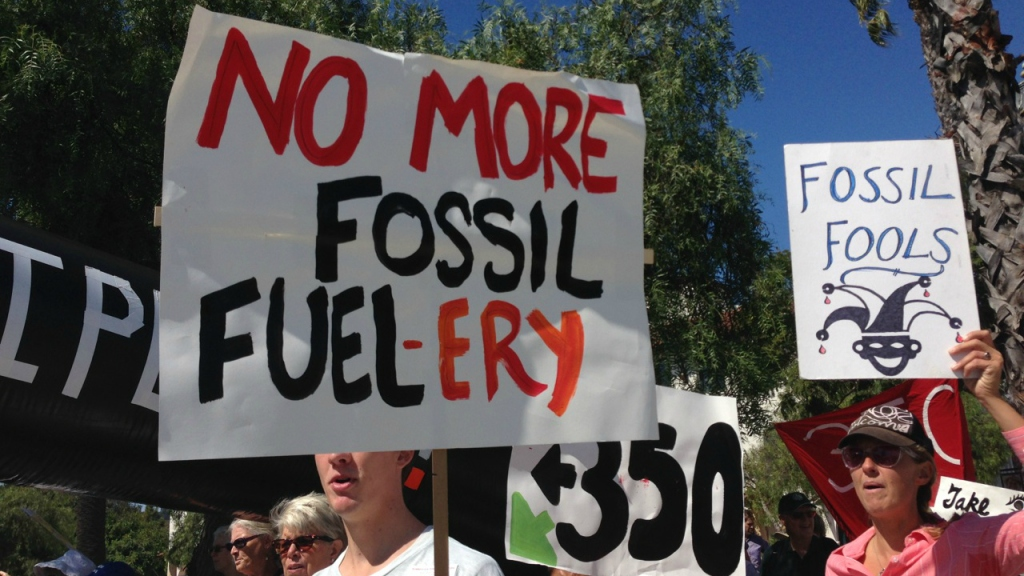 """No more fossil fuel-ery"" sign"