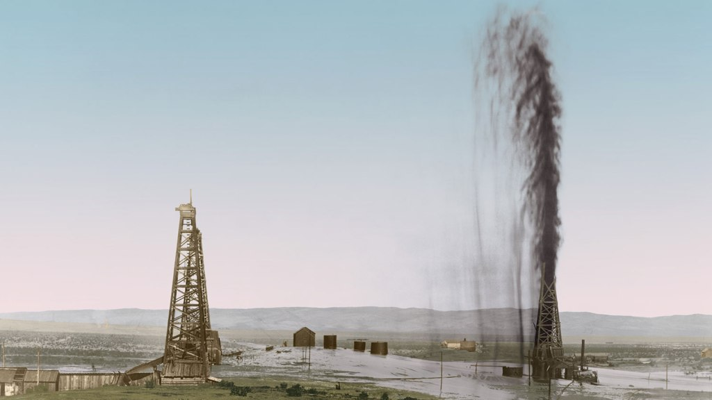 Great gusher in a California oil field floods the surrounding scrub land, 1910