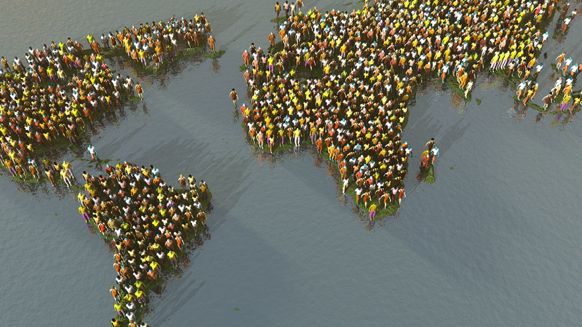 World map made out of people