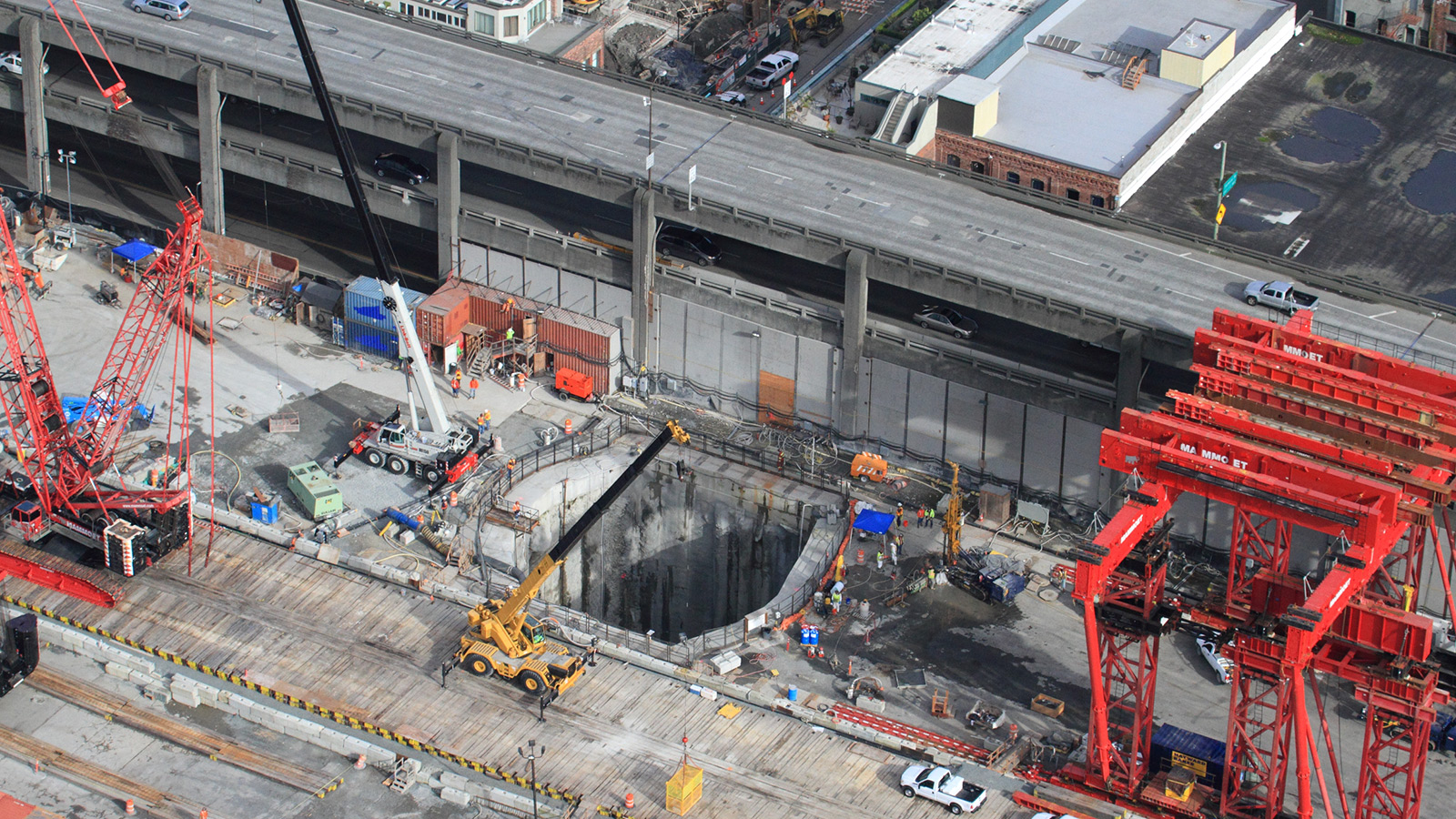 Feb. 13, 2015, aerial photo of the 120-foot-deep pit crews will use to access and repair Bertha, the SR 99 tunneling machine.