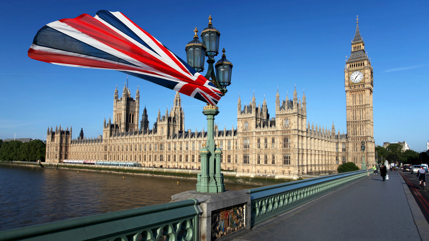 British flag and Houses of Parliament