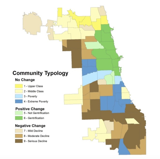 University of Illinois Chicago map of neighborhoods that have changed since the 1970s according to its gentrification index.