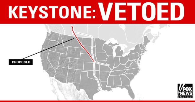 "Fox News box: ""Keystone: vetoed"""