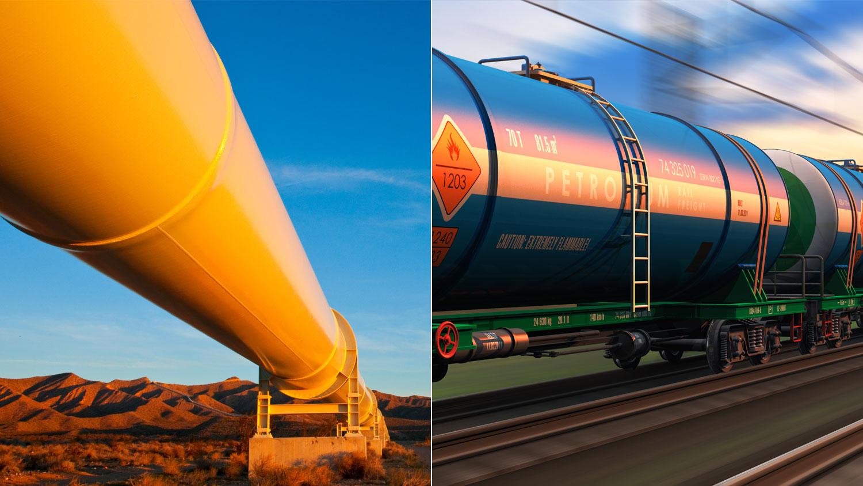 Oil pipeline + oil train