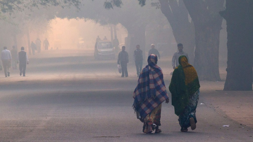 New Delhi, India - November 12, 2012. Daily street life in the early morning during extreme smog conditions.