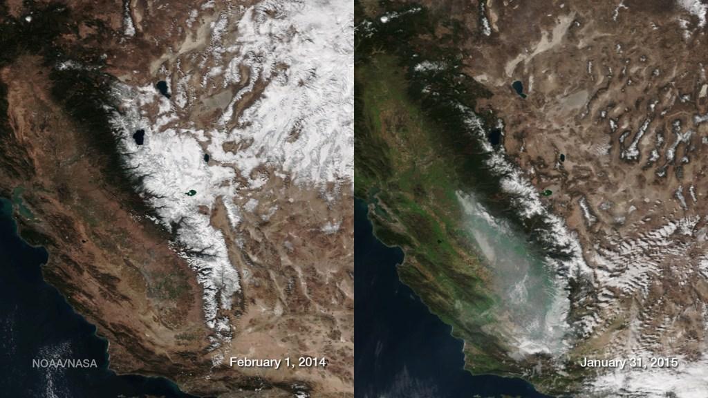 Sierra Nevada Snowpack Comparison 2014 - 2015