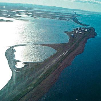 Aerial view of Kivalina, Alaska.