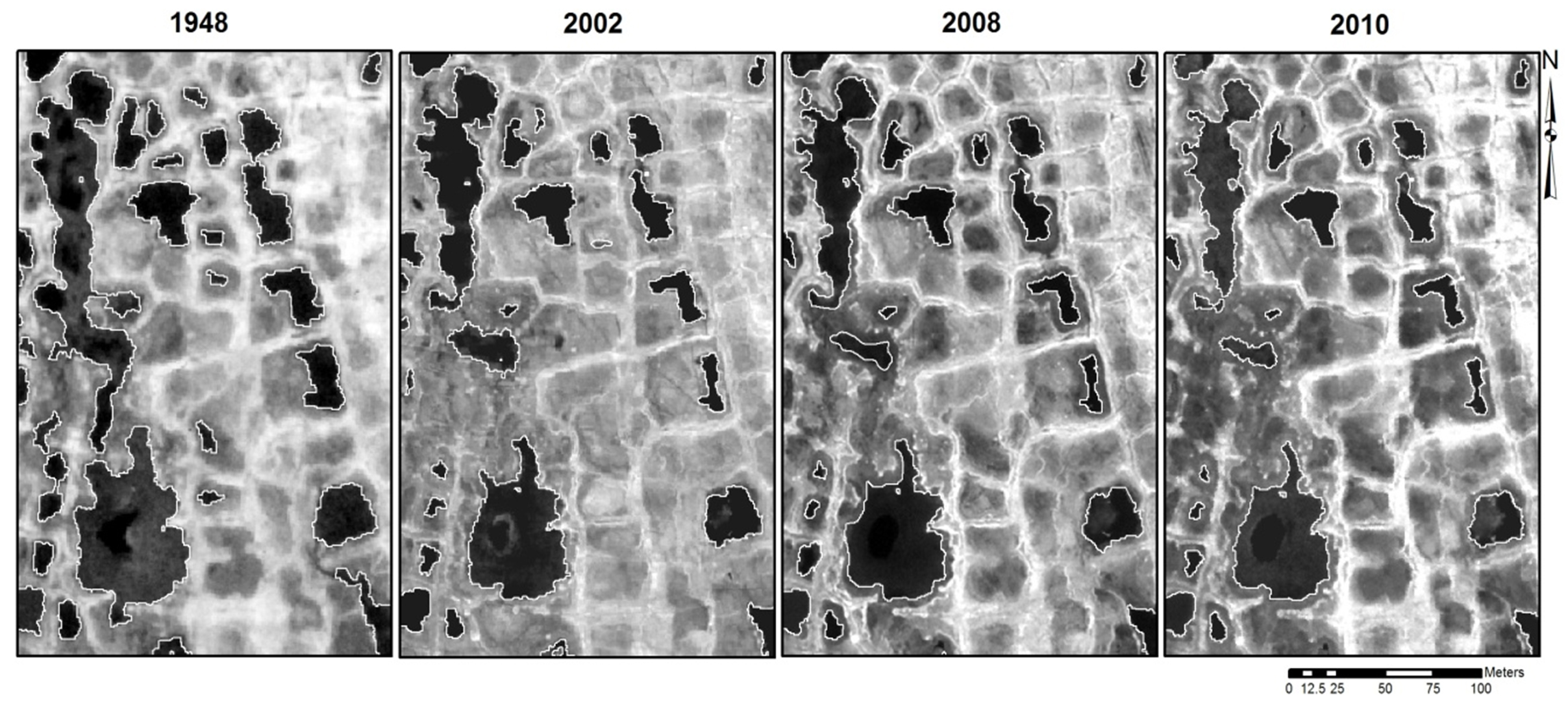 Arctic pond shrinkage between 1948 and 2010
