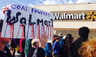 """coal-powered walmart"" protest sign"