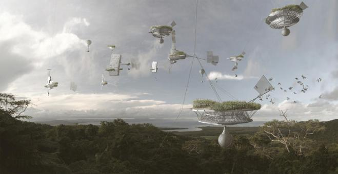 Cloud Skippers (2009): Helium balloons lift communities above flooded areas and go wherever the jet stream takes them.