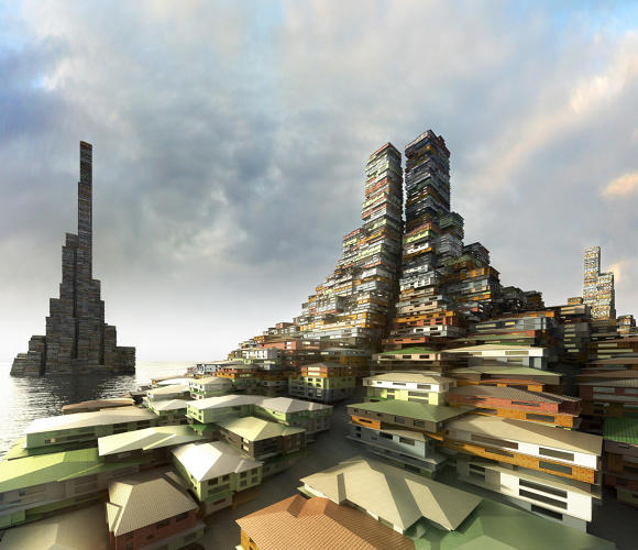 "Saturation City, Melbourne (2010): This post-sea level rise Melbourne features a dense city of ""superblocks."""