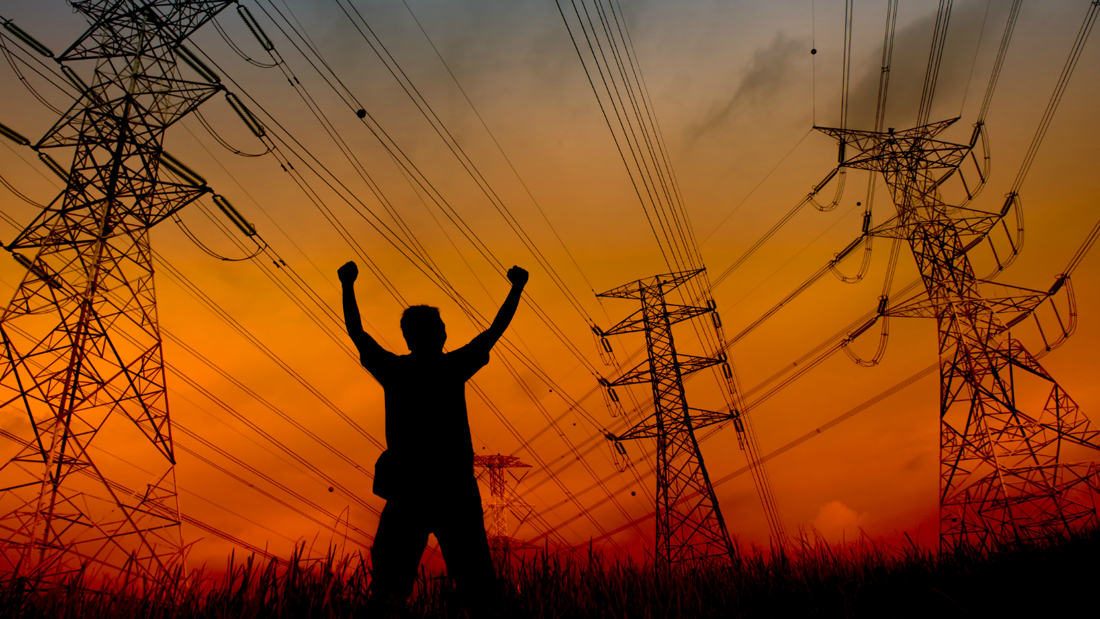 man and power lines