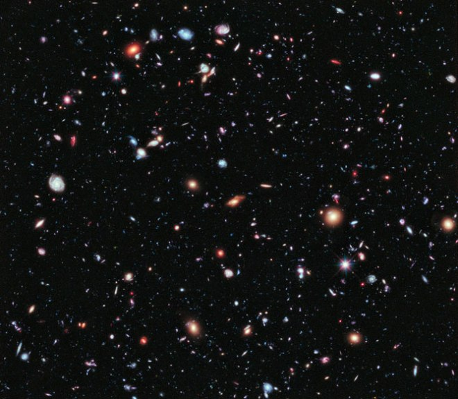 The Hubble Deep Field -- to the human eye, this rice-sized patch of space would appear blank. To Hubble, it's a delightful jumble of galaxies.