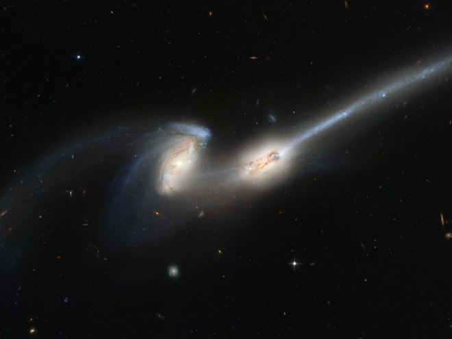 Two galaxies colliding, in extreme slow-mo.