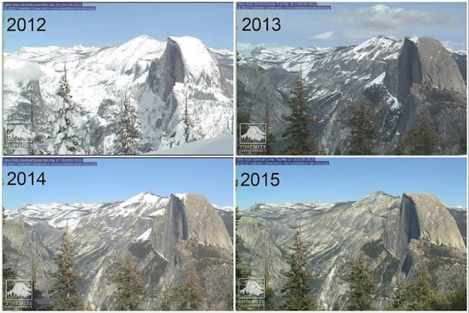 A series of webcam photos of Half Dome in Yosemite National Park, taken each mid-March from 2012 to 2015, vividly illustrates the effects of the multi-year drought.