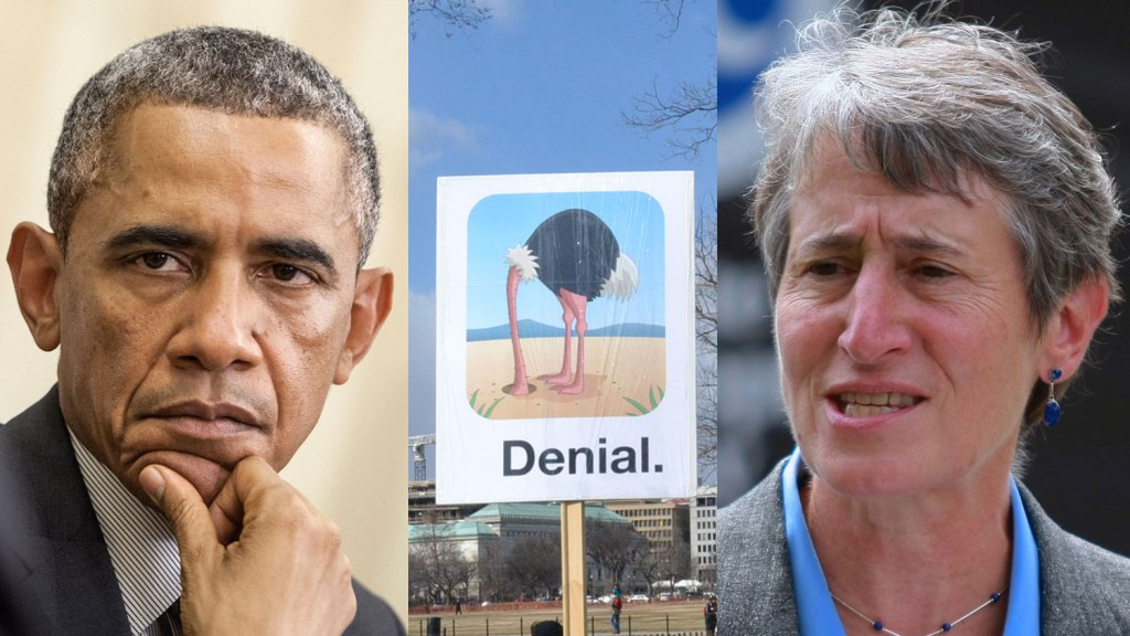 "Obama, Sally Jewell, and a ""denial"" sign with ostrich head"