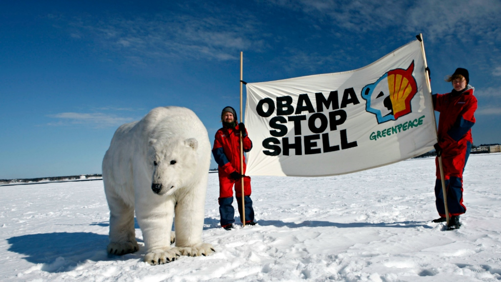 """Obama stop shell"" banner in snowy, polar-beary landscape"