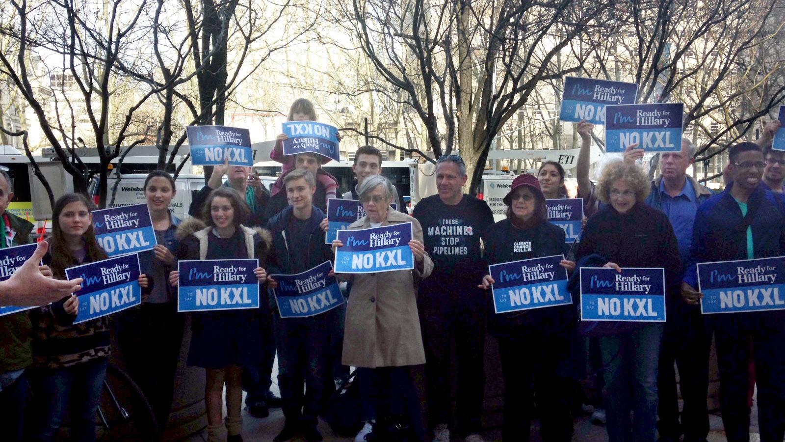 anti-Keystone protestors rally outside Clinton headquarters