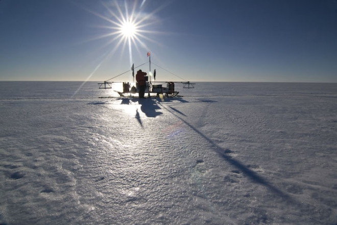 One of the sleds that scientists used to drag radar instruments across the Larsen C ice shelf.
