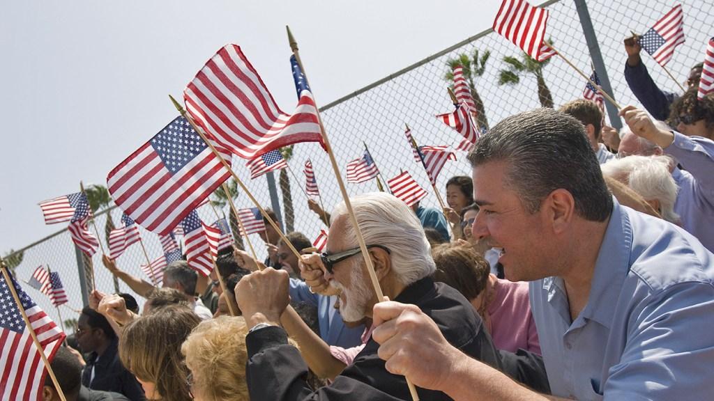 flag-waving crowd