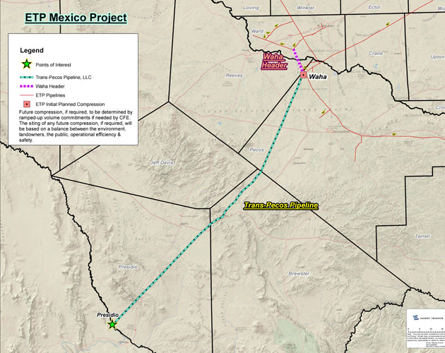 Proposed route for the Trans-Pecos pipeline.