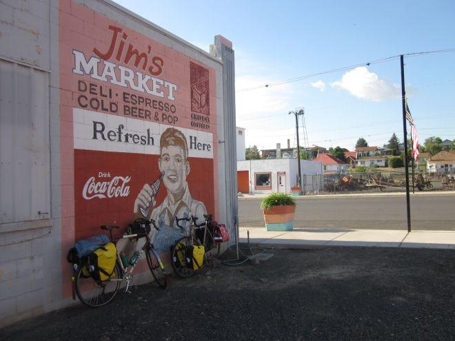Bike parking at Jim's Market in Lind, Wash.