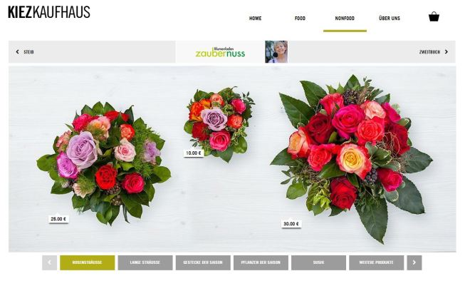 Items for sale from the local flower shop Blumenladen Zaubernuss.
