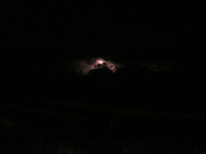 One lightning strike of many over Eastern Washington, as seen from Ralston.