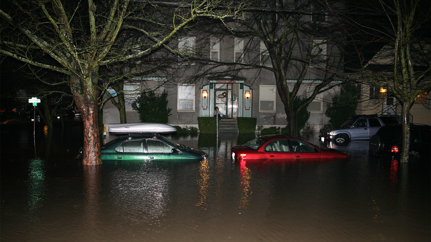 A flooded street in the Capitol Hill neighborhood of Seattle after a rain storm in December 2006.
