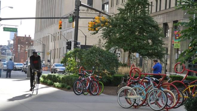 biking on a nice street corner in Detroit