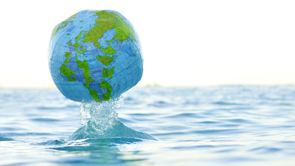 globe bouncing out of water