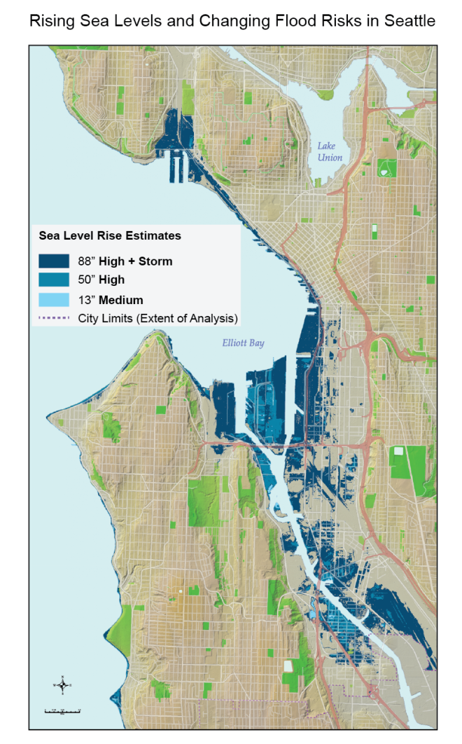 This map shows areas projected to be under sea level during high tide by 2100, assuming no adaptation.