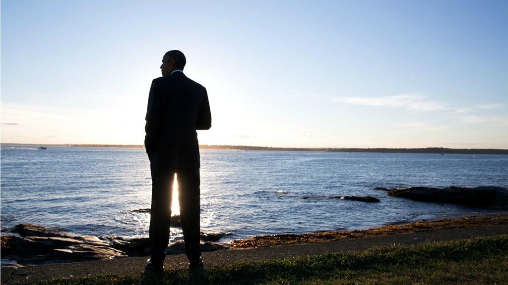 Obama on coastline