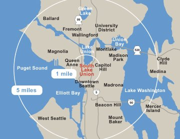 South Lake Union at center of Seattle map
