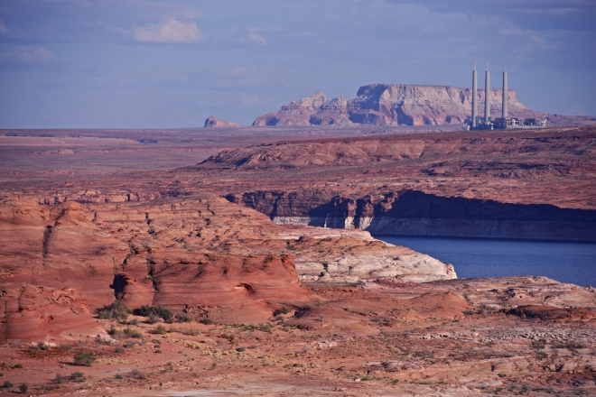 Lake Powell, Ariz., with the Navajo Generating Station in the distance.