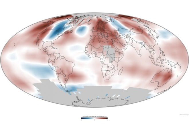 How average temperatures in 2014 compared to the 1981-2010 average, shown as differences in degrees Fahrenheit, with red showing warmer and blue cooler temperatures. Click to embiggen.