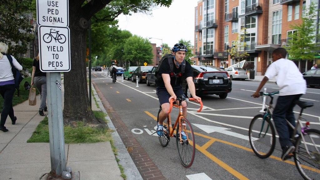 street with bike lanes