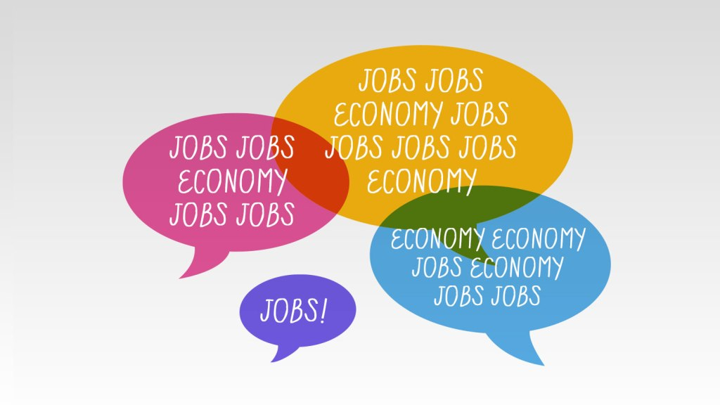 """""""jobs"""" and """"economy"""" in speech bubbles"""