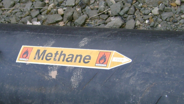 methane sticker on pipeline