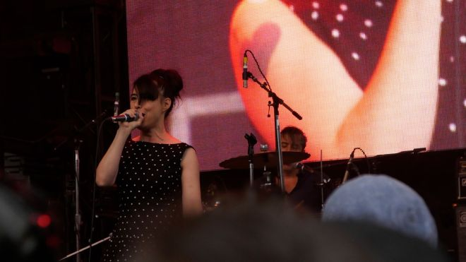 Kathleen Hanna singing with The Julie Ruin at Capitol Hill Block Party.