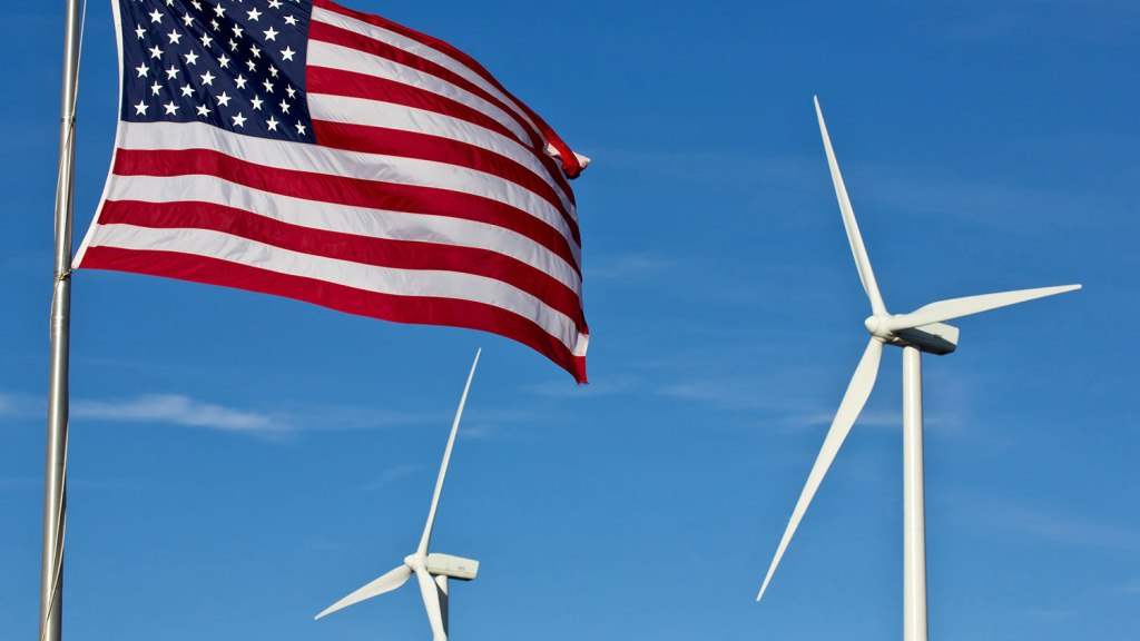 wind turbines and American flag