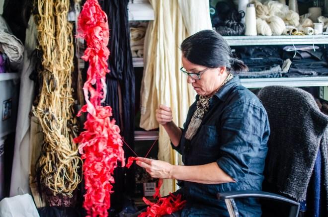 Ásta Guðmundsdóttir, an artist and clothing designer who works in Toppstöðin.