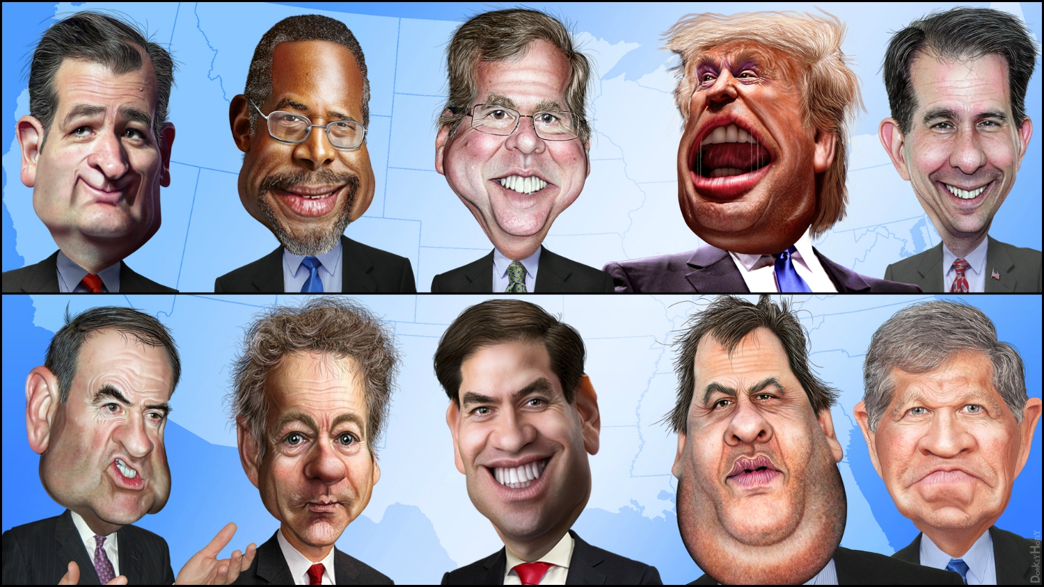 cartoon of GOP presidential candidates