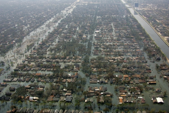 About 80 percent of New Orleans was flooded when Hurricane Katrina's storm surge overwhelmed the city's levees.