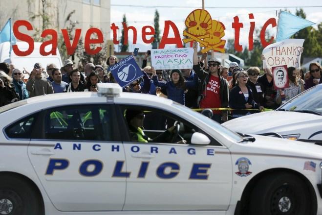 protesters outside Obama's Alaska climate speech