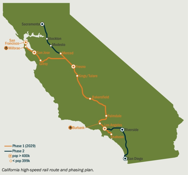 California's planned high-speed rail system