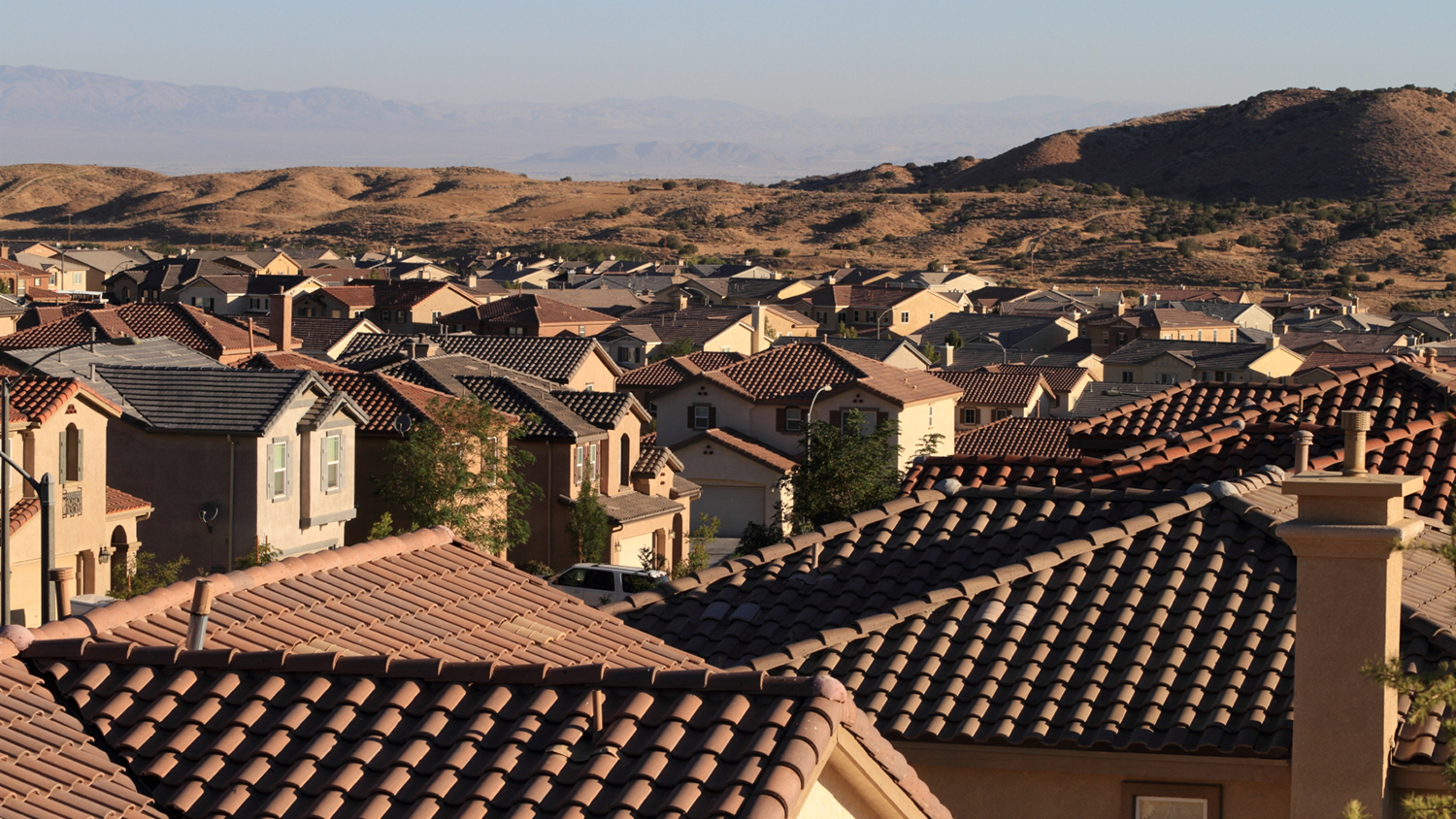 California suburb rooftops